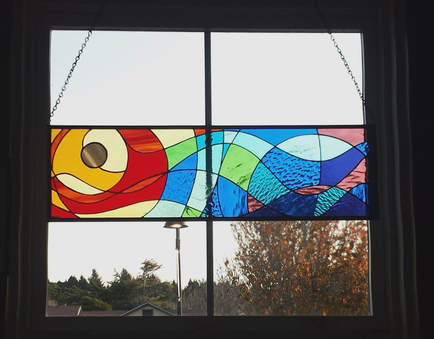 SunWave stained glass by Colleen Clifford in Humboldt County
