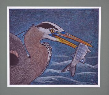 Great Blue Heron Fishing by Patricia Sundgren Smith