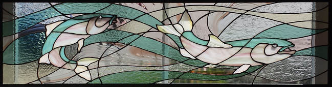 Salmon Run ~ Stained Glass by Colleen Clifford in Humboldt County