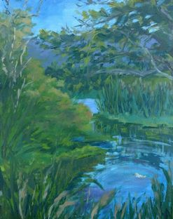 Arcata Marsh oil painting by Lynn Niekrasz