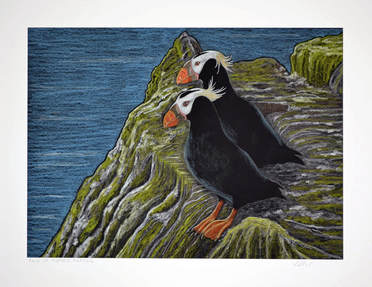 Pair of Puffins by Patricia Sundgren Smith
