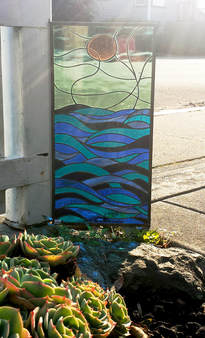 Sun and Wave stained glass by Colleen Clifford in Humboldt County