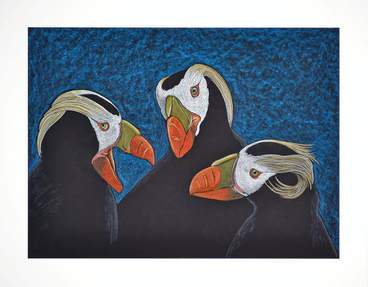Trio of Puffins by Patricia Sundgren Smith