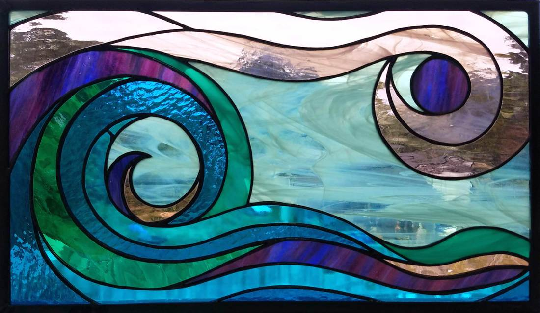 Wave Stained Glass by Colleen Clifford in Humboldt County